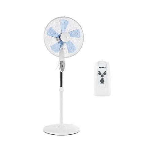 Klarstein Summerjam • Ventilatore a Piantana • Timer • 5 Pale • 41 cm • 50 Watt • Emissione aria 69,18 m³/min • 3 Velocitá • Telecomando • Bianco