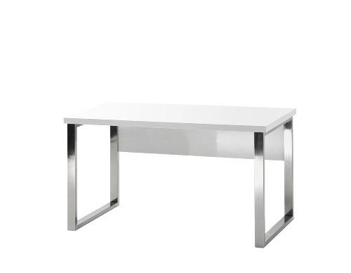 Robas Lund, Schreibtisch, Computertisch, Sydney III, Hochglanz/weiß/verchromt, 140 x 70 x 76 cm,  40121CW2