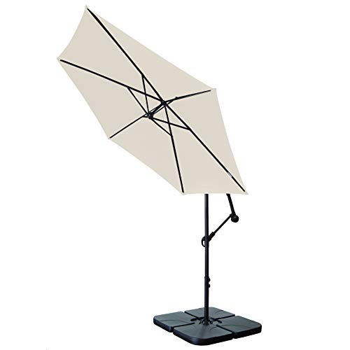 As a user, you are able to position the parasol where you want thanks to its design. The parasol is suspended from a steel frame which gives it the flexibility to move around and cover you from the sun as it traverses the sky. Additionally, the 2.5m height of the parasol is adjustable allowing you to find a comfortable spot.