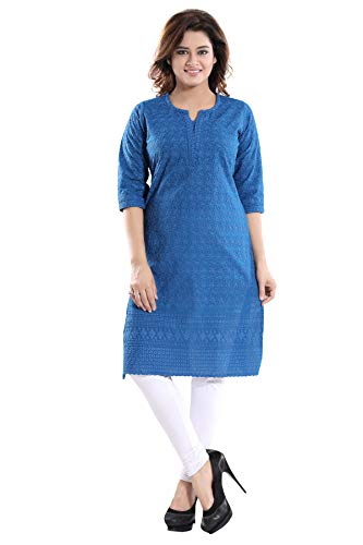 QueenShield Women's Formal & Casual Cotton Chikan Color Kurti For All Plus Size And Small Size (Royal Blue, 38-M)