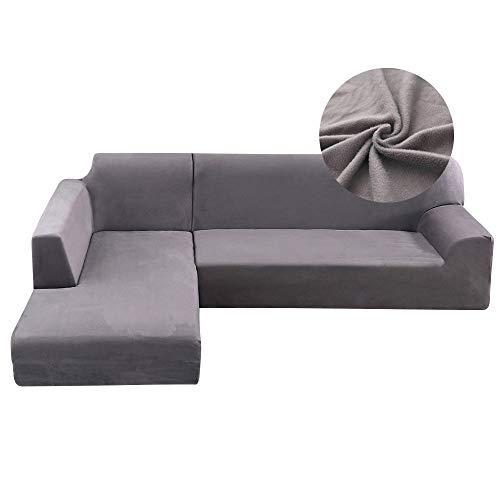 Copridivano con Penisola Elasticizzato in Peluche Chaise Longue Sofa Cover Componibile in Poliestere a Forma di L (3Posti+4Posti, Grigio)