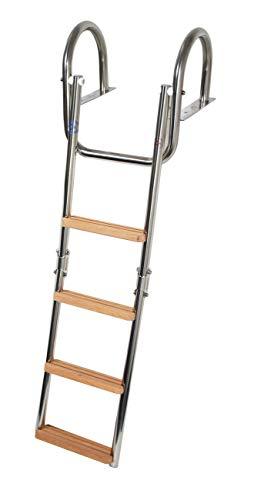 CEREDI Edelstahl Badeleiter mit Handgriff für Steg klappbar, Größe:4 Stufen
