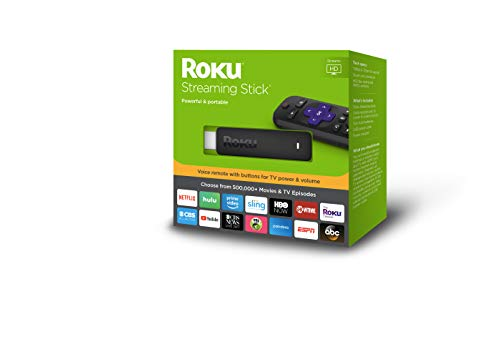 Roku Streaming Stick | Portable, power-packed player with voice remote with TV power and volume (2017)