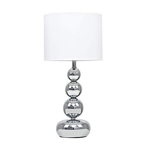 MiniSun - Lámpara de mesilla táctil y moderna, con base de columna de esferas - cromada y pantalla blanca estilo seda