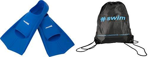 Aqua Speed Set High Tech Pinne di Nuoto Brevi per Adulti e Bambini + ULTRAPOWER #Swim Zaino di Cordone Uomini Donne Ragazze Ragazzi Pinne Allenamento per Immersione Alette Formazione blu/11, 47/48
