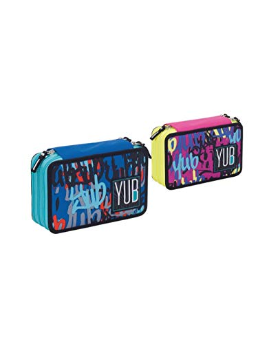 YUB Seven- Astuccio 3zip Graffiti, Multicolore