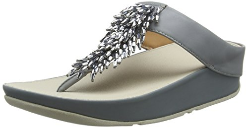 Fitflop Rumba TM Toe-Thong Sandals Crystal, Sandali Punta Aperta Donna, Grigio (Dove Blue 534), 37...