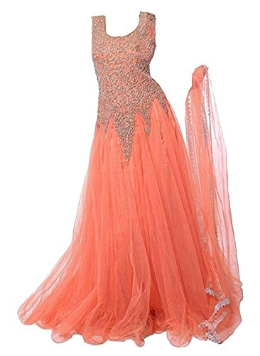 Sky World Girl's Soft Net Embroidered Orange Gown For Girls (6-12 Yrs) (World_556)