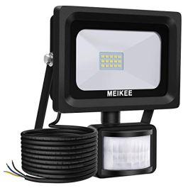 MEIKEE Faretto con Sensore di Movimento 10W, Faro LED Esterno, IP66 Impermeabile LED Esterno, Illuminazione Bianco Freddo 6000K 1000LM, Lampada a Rsparmio Energetico a LED per Cortile