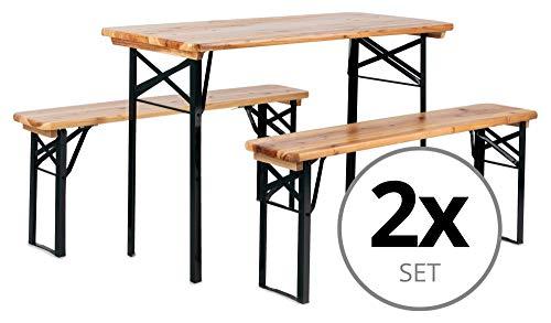 Stagecaptain 2er Set Hirschgarten Bierzeltgarnitur für Balkon (Kurze Version mit 117 cm Länge, 2X Tisch, 4X Bank, Holz, klappbar) Natur