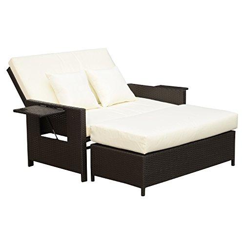 Outsunny Polyrattan Lounge-Sofa Gartensofa Gartenliege 2-Sitzer mit Kissen Hocker Braun