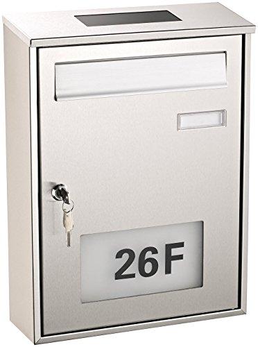 Lunartec Solarbriefkasten: Edelstahl-Briefkasten mit Solar-Leucht-Hausnummer (Briefkasten beleuchtet)