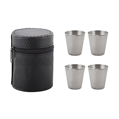 OUNONA Set Bicchierini in acciaio Bicchieri da liquori e viaggio in acciaio inssidabile di 30ml con...