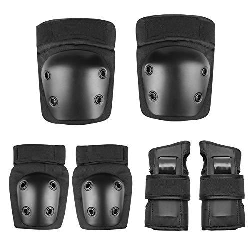 MINLIDAY Set di Protezioni, 6 Pezzi Kit di Ginocchiere Gomiti Polso Protezioni Kit per Roller Skate...