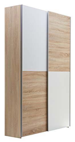 Stella Trading Aladin Garderobenschrank, Schrank, Holzdekor, Eiche Sonoma-Weiß, ca. 125 x 195 x 38 cm