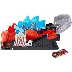 Mattel Hot Wheels-City Dino-Ataque a la montaña Rusa, Pistas de Coches de Juguetes niños +4 años GBF93