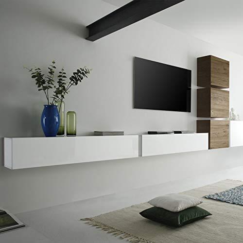 NOUVOMEUBLE Mobile TV sospeso Bianco e Colore Rovere Capena 2