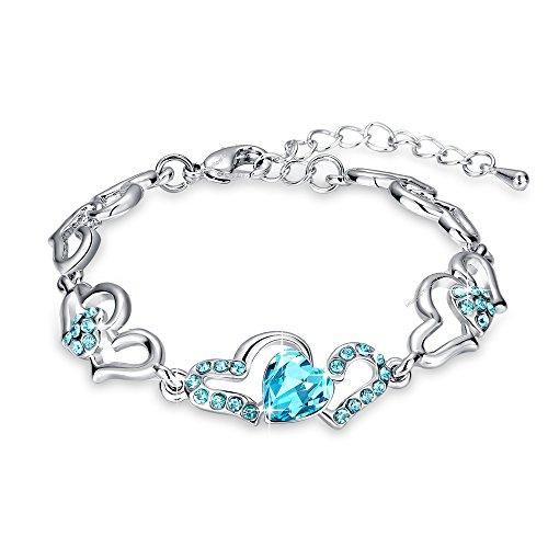 Yellow Chimes Blue Metal Crystal Cz Charm Bracelet for Women