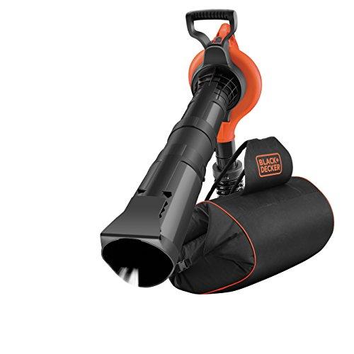 Black+Decker GW3031BP Elektro Laubsauger & Laubbläser mit Häcksler, 72l Fangsack-Rucksack, Laubrechen & Tragegurt - Hohe Blasgeschwindigkeit & Saugleistung - 3000W