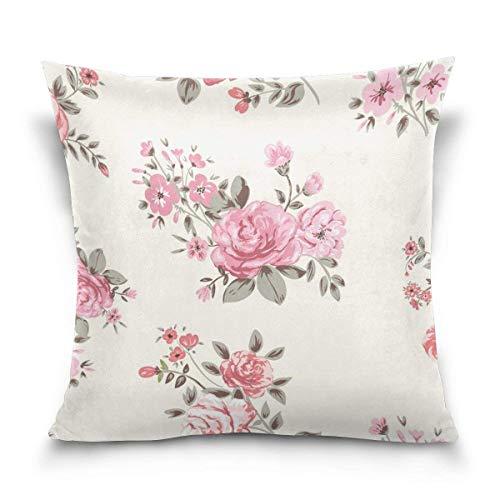 LilyNa Shabby chic rosa floreale federa cuscino, divano letto di federe (45,7x 45,7cm) doppia...