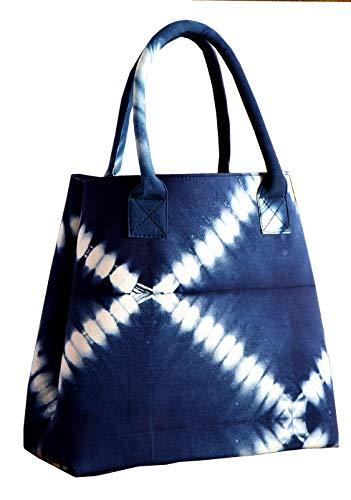 HANDICRAFT-PALACE Shibori Handbag Shoulder Bags Tote Purse Ladies Messenger Hobo Bag Shopping Hand Bag Purse (Indigo Blue)