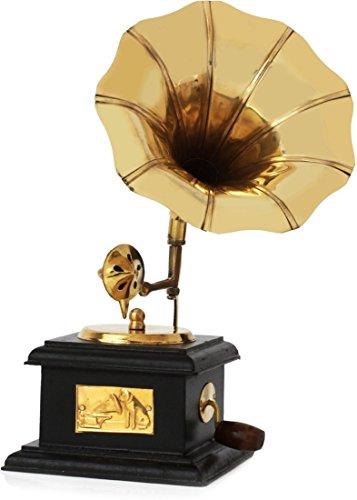 JaipurCrafts Sparkle Square Gramophone Showpiece - 16 cm (Brass, Brown, Gold)