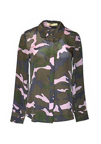 ANA PIRES MILANO Camisa de Victoria, Mujer, 100% Seda, Camisa de Camuflaje;Talla 44