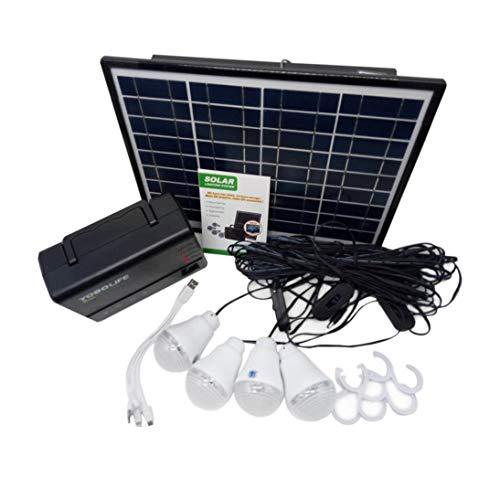 Laurelmartina Generador de Almacenamiento de energía de Panel Solar con Bombilla LED Cargador de USB Generador portátil de Mano Kit de Sistema de casa de alimentación