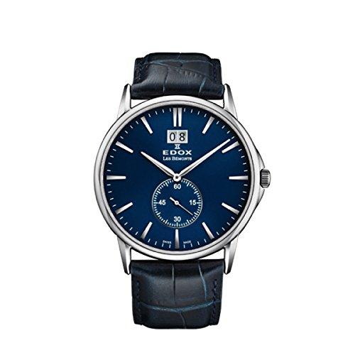 EDOX Herren Analog Quarz Uhr mit Leder Armband 64012-3-BUIN