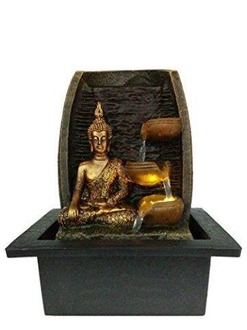 Bibiana Buda Dorado con Tazas de Agua y Fuente de Agua de Interior con luz LED, 21 cm x 18 cm x 25 cm 3