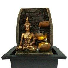 Bibiana Buda Dorado con Tazas de Agua y Fuente de Agua de Interior con luz LED, 21 cm x 18 cm x 25 cm