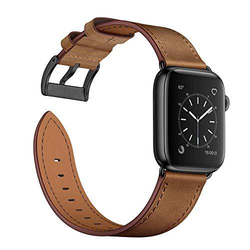 Arktis Cinturino in Vera Pelle Compatibile con Apple Watch 42/44mm (Series 1, Series 2, Series 3, Series 4, Series 5) Bracciale con Fibbia e adattatori di Acciaio Inossidabile - Marrone Beige
