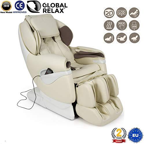 NATALE -200€ I SAMSARA Poltrona massaggiante Shiatsu 2D - Bianco (modello 2019) - Poltrona massaggio con posizione di Gravità Zero - Poltrona relax con sistema Zero Spacio - 2 Anni di Garanzia