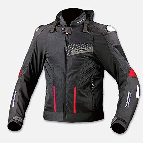 LALEO Unisex Giacca da Moto con Spia LED, Quattro Stagioni Traspirante Anti-Caduta Antivento con Protezioni CE Giacca Motocicletta/Bici/Corsa Uomini Donne Grandi Dimensioni,Nero,XL