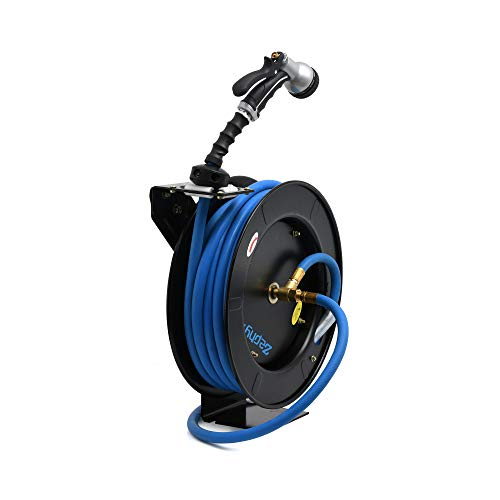 Zephyr Auto-Retractable Garden Hose Reel with Rubber Water Hose & Spray Gun - Never Coil a Garden Hose again. Save Water, Time & Effort,Blue