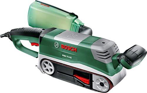 Bosch Bandschleifer PBS 75 AE Set (750 W, Bandgeschwindigkeit 200-350 m/min, Schleiffläche 165 x 76 mm, im Koffer)