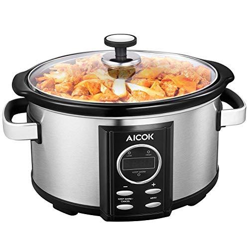 Aicok Slow Cooker, Pentola Elettrica a Cottura Lenta Capacità 6.5L, Timer Digitale e 3 Impostazioni...