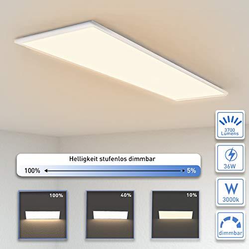 OUBO Deckenlampe Deckenleuchte LED Panel dimmbar 120x30cm Warmweiß / 36W/ 3700lm / 3000K / Flurlampe Decke Wandleuchte Schlafzimmer Kinderzimmer
