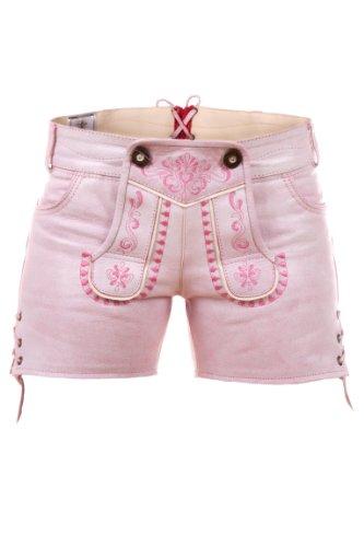 Highlight! Sexy Damen Trachten Ledershorts Pink Princess aus weichem Rindleder, Rosa, 36