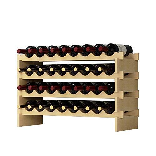 DlandHome 4 Ripiani 32 Bottiglie Cantinetta Portabottiglie Vino in Legno Scaffale Porta Bottiglie 90...