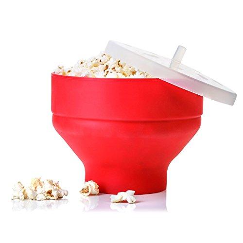 flintronic Microondas Popcorn Popper Sturdy Comodas Asas, Silicona Popcorn Maker, Collapsible Bowl Con Tapa