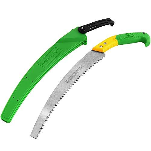 GRÜNTEK Sierra de mano y jardín Orca 330mm, serrucho plegable con hoja en acero profesional con cerradura de seguridad.
