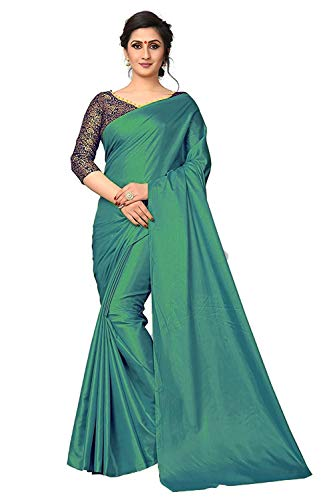 The Fashion Outlets Women's Heavy Paper Silk Plain Saree with Jacquard Work Blouse (Green)