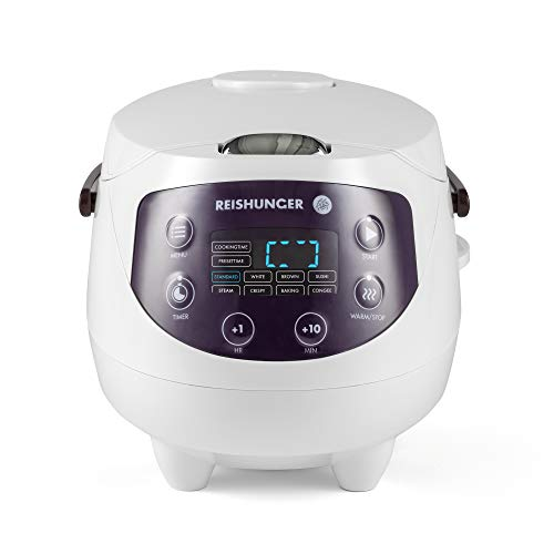 Reishunger Cuociriso Mini Digitale (0.6l/350W/220V) Multi-cucina con 8 programmi, bianco, tecnologia...