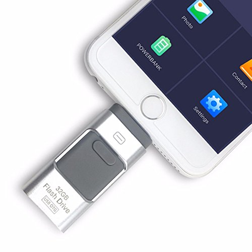 Chiavetta USB esterna, 3 in 1 OTG, chiavetta di memoria i-flash per iPhone 8/7/6/6S/5/iPad,...