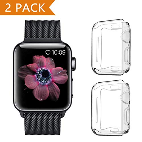 PEYOU Cover per Apple Watch Series 5/Series 4 40mm (2 Pezzi), Proteggi Schermo iwatch 4 [Copertura Completa] [HD Clear] [Anti-Graffio] Custodia Morbida in TPU per Apple Watch Series 5/ Series 4