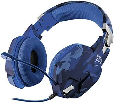 Trust GXT 322B Gaming Headset/Kopfhörer (mit flexiblem Mikrofon, für PS4, Xbox One und PC) blau camouflage