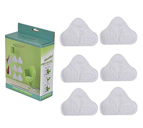 Tech Traders, set di 6ricambi triangolari lavabili in microfibra per scopa a vapore per pavimenti,...
