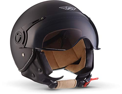 "Moto Helmets® H44 \""Matt Black\"" · Jet-Helm · Motorrad-Helm Roller-Helm Scooter-Helm Bobber Mofa-Helm Chopper Retro Cruiser Vintage Pilot Biker Helmet · ECE Visier Schnellverschluss Tasche L (59-60cm)"