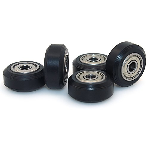 BIQU 3D-Drucker kleine Kunststoff-Riemenscheibe, Rad mit Kugellagern, Passive Rundrad-Spannrollen, Perlin-Zahnrad (5er-Pack), Big Wheel, 5